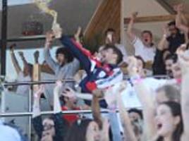World Cup: Louis Tomlinson chucks his beer over crowd as singer watches England take on Croatia