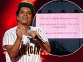 bruno mars's has to leave stage in glasgow after a 'pyrotechnic misfired'