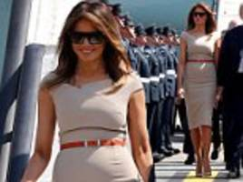 Melania Trump wears Roland Mouret dress and Louboutins in London