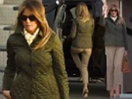 melania trump wears her third outfit of the day as she lands in scotland