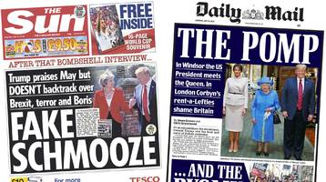 newspaper headlines: trump's 'fake schmooze' over trade deal