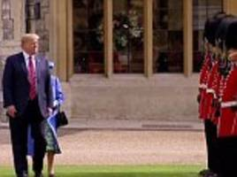 trump breaks protocol during royal visit twice after failing to bow and walking in front of queen