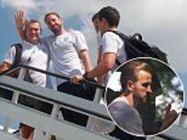 England World Cup stars make their way back home from Repino base