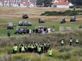 donald trump's scottish golf course is invaded by buggies, snipers and the secret service