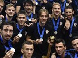 Silver lining! Luka Modric and Co put on brave face as they pose in with World Cup silver medals