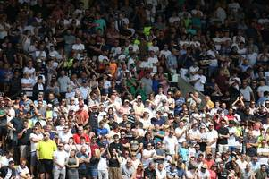 derby county fans react to their side's 4-1 win over notts county