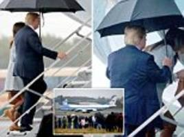 trump touches down into helsinki for 'low expectations' summit after venting about the media