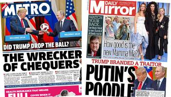 Newspaper headlines: 'Wreckers of Chequers' and 'Putin's poodle'