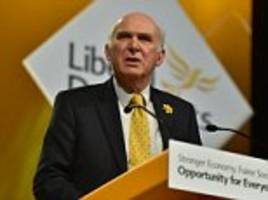 lib dems face fury after vince cable and tim farron miss brexit votes