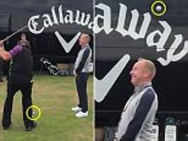 phil mickelson performs outrageous flop trick shot over brave volunteer ahead of the open