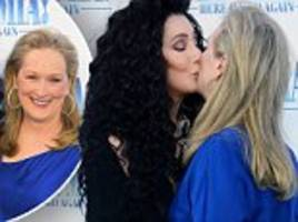 Meryl Streep, 69, kisses Cher, 72, on the lips as she says the icon 'steals' the show in Mamma Mia!