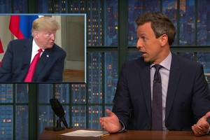 seth meyers: trump 'is selling out our democracy' to vladimir putin (video)