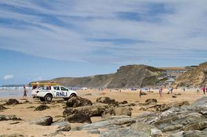 newquay lifeguards launch mass rescue of 15 people in strong current at watergate bay