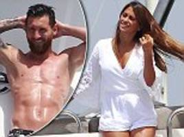 messi relaxes on a yacht near formentera with wife antonella roccuzzo