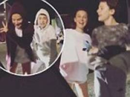 millie bobby brown boogies down to drake's in my feelings challenge