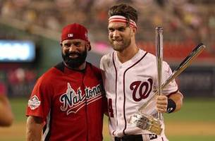 Bryce Harper talks with Joe Buck during All-Star game