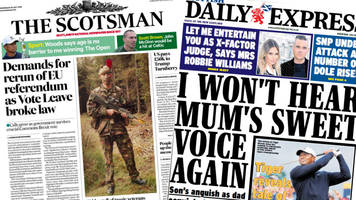 scotland's papers: vote leave broke law, and tiger's open dream