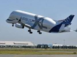 Airbus's new giant cargo plane - the BelugaXL - takes to the skies for its maiden flight