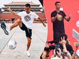 cristiano ronaldo worshipped by the masses as superstar touches down in china for cr7 tour