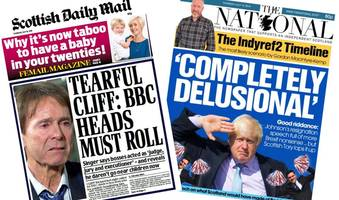 scotland's papers: 'cliff's tears' and 'completely delusional boris'