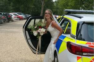 gloucester constabulary police officers drive bride to wedding after rolls royce breaks down