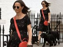 pregnant pippa middleton displays her bump in a chic floral dress