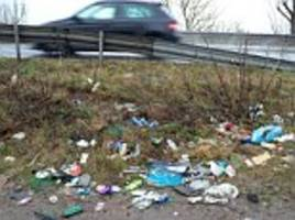Rubbish chucked onto the roadside by lazy drivers is costing £850million a year to clear up