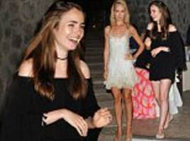 lily collins joins shimmering lady victoria hervey, 41, at ischia global film festival dinner
