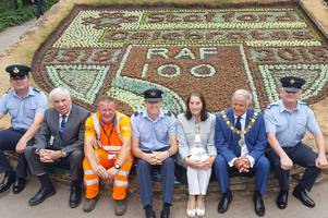 raf is honoured with floral a display at victoria park