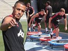 alexis sanchez takes part in manchester united training in the us