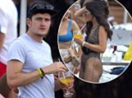 harry maguire unwinds with scantily-clad fiancée fern hawkins at pool party in ibiza