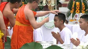 thai cave boys shave their heads to become novice buddhist monks