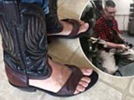 former sheriff combines cowboy boots and flip flops for bizarre summer shoe