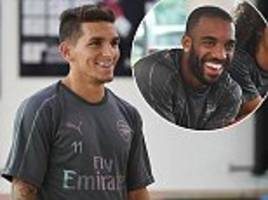 jokes aplenty at arsenal training as new boy lucas torreira joins up with new team-mates
