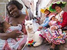 mothers around the world pose for photos while nursing their children