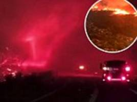 video shows emergency crews pass close to a 143mph fire cyclone in northern california