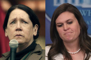 ann dowd: 'the handmaid's tale' aunt lydia would make 'mincemeat' out of sarah sanders (video)
