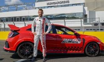 jenson button sets fwd lap record at the hungaroring in honda civic type r