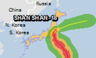 Green alert for tropical cyclone SHANSHAN-18. Population affected by Category 1 (120 km/h) wind speeds or higher is 0.