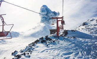 volcano erupts at chilean ski resort; video - a skier riding up the chairlift documented the 5,000-foot plume of dust and ash.