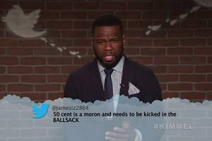 50 cent goes full dad in jimmy kimmel's 'mean tweets – hip hop edition' (video)