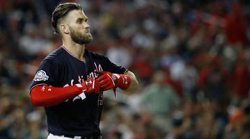 washington nationals' bryce harper out of thursday's lineup with right knee soreness