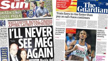 paper review: palace 'bust-up' and rail fares increase