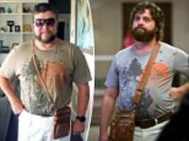 dad going to las vegas wears zach galifianakis's outfit from the hangover