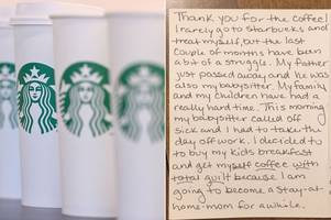 woman buys coffee for lady behind her at starbucks - then finds sweet surprise in her mailbox later