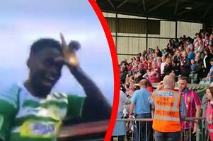 watch hilarious moment yeovil town player taunts 2,000 aston villa fans with fortnite dance celebration seconds before his goal is disallowed