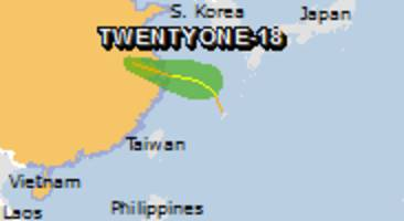 Green alert for tropical cyclone TWENTYONE-18. Population affected by Category 1 (120 km/h) wind speeds or higher is 0.