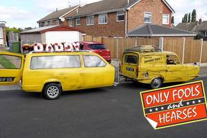 notts man's only fools and horses funeral included a reliant robin hearse