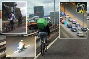 Motorway madness! Police warn cyclists to stay off M6, M5 and A38M after fourth incident in three days