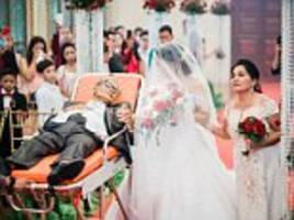 dying father walked daughter down the aisle on stretcher